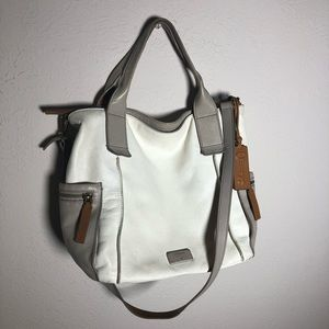 Fossil White, Gray, and Tan Crossbody/Shoulder Bag